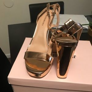 189f0360aa8 JustFab Shoes - Wide width Rose gold heels size 11(never worn)